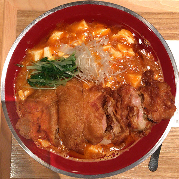 「海老辛麻婆麺+排骨トッピング」@新潟三宝亭東京ラボ 渋谷宮益坂店の写真