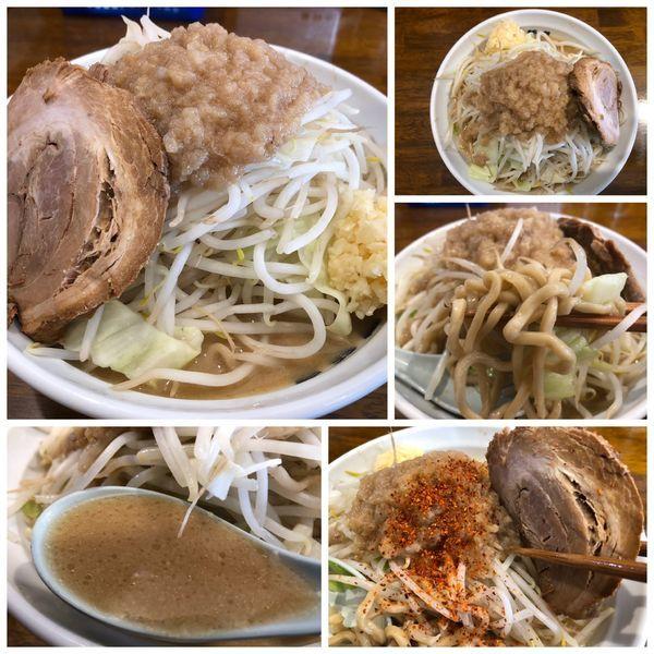 「爆麺 中 750円 ヤサイニンニクミゾレ」@爆麺亭 所沢店の写真