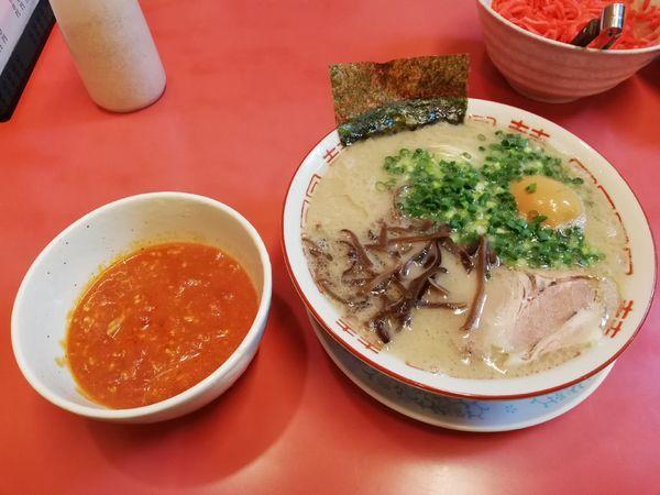 「ラーメン650円+味たま+豚トマト+替玉」@博多長浜らーめん もりやの写真