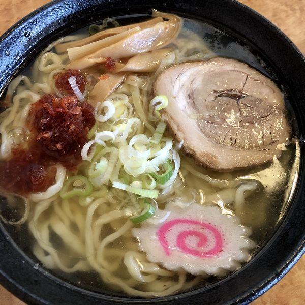 「海老風味塩ラーメン+餃子3個」@佐野青竹手打ちラーメン いしかりの写真