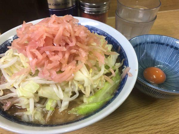 「ラーメン、卵、岩下の新生姜」@ラーメン二郎 栃木街道店の写真