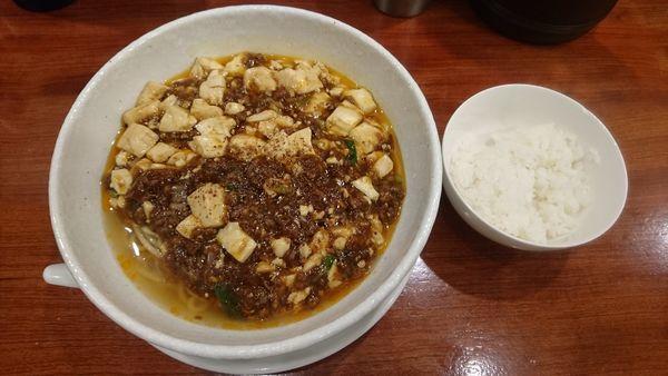 「麻婆麺(薄辛)+半ライス」@SHIBIRE NOODLES 蝋燭屋の写真