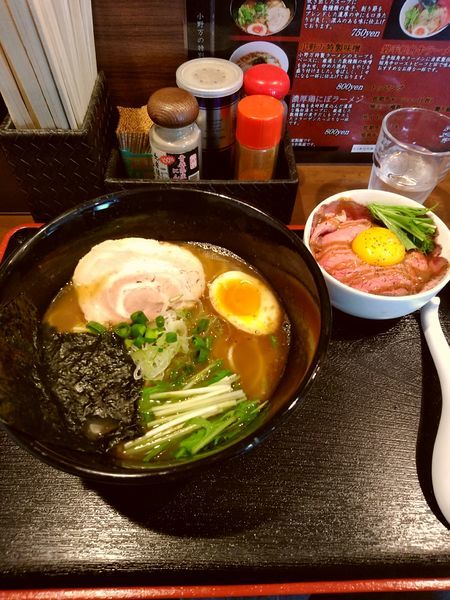 「あっさり+ローストビーフ丼」@麺屋 小野万の写真
