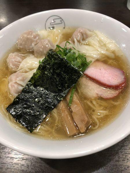 「肉ワンタン麺 白だし ¥1000」@八雲の写真