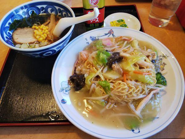 「ミニラーメン +皿うどん」@テンホウ 松本渚店の写真