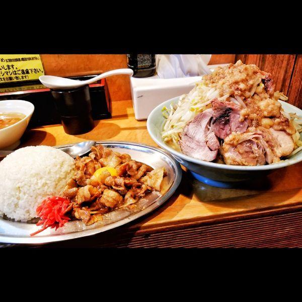 「小ラーメン極太麺変更、DXマシライス」@立川マシマシ ロイヤルスープの写真