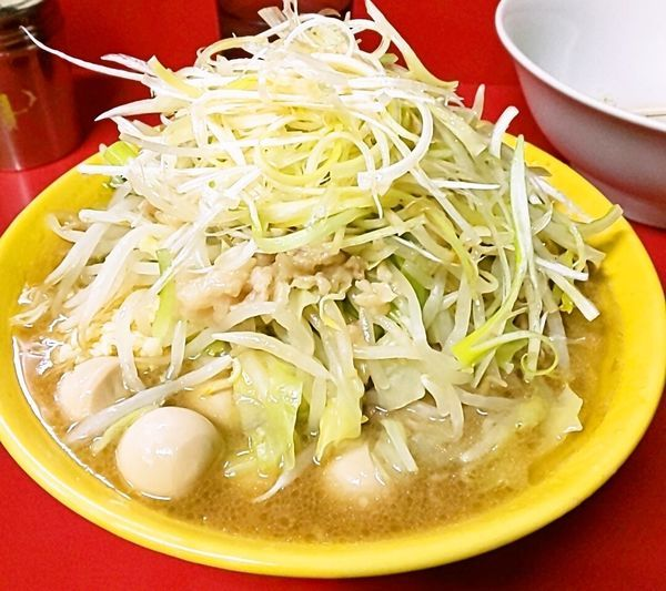 「小ラーメン(麺少なめ)+生卵+味ネギ+うずらの卵」@ラーメン二郎 茨城守谷店の写真