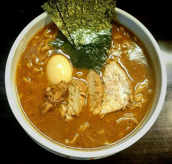 「魚介味噌ラーメン2倍盛 味玉 ちょい足し少量3種盛り合わせ」@麺屋 優創の写真