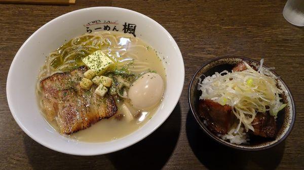 「イベリコ豚とキノコの塩バターらーめん(850円)」@ら〜麺 楓の写真