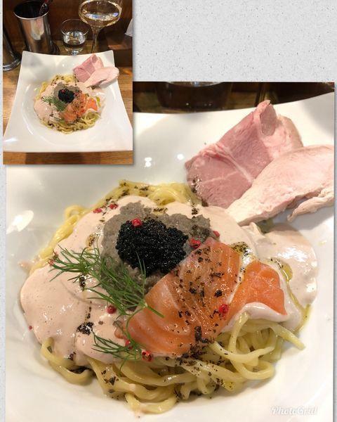 「鮭白子クリームとシャンピニオンソース和えそば ¥1200」@麺庵 小島流の写真