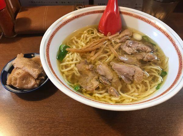 「鶏チャーシュー麺+鶏皮」@中華そば 嘉一の写真