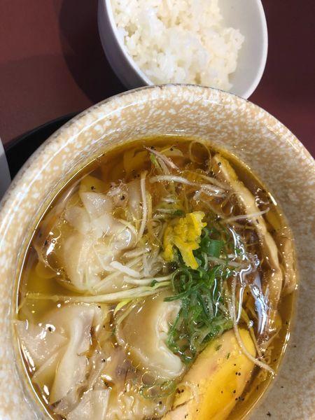 「海老ワンタン中華そば(醤油 煮干和え麺」@麺童 豊香の写真