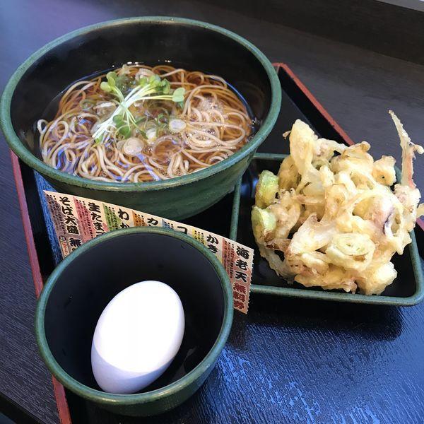 「【季節限定】タコと紅生姜のかきあげ(¥500)+生玉子(Q)」@ゆで太郎 芝大門店の写真