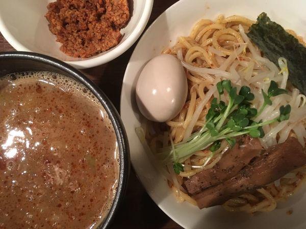 「【限定】辛つけ麺 800円(辛にんにく鶏そぼろ+100円)」@らーめん 和なり えんの写真