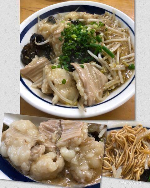 「ゴールデンシマ腸&モヤシ餡掛けC(揚げ麺ver)計¥1500」@MENYA 食い味の道有楽の写真