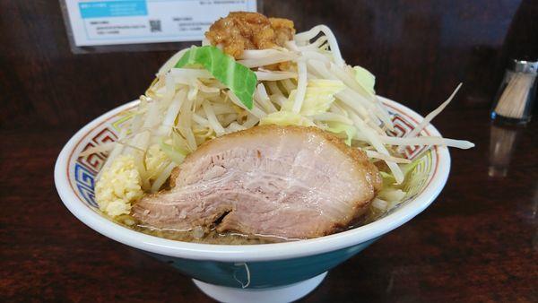「ミニラーメン 麺カタメヤサイマシニンニクアブラスコシマシ」@ラーメン二郎 めじろ台店の写真