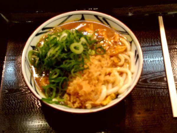 「カレーうどん(並盛・揚げ玉・刻みネギ)490円」@丸亀製麺 イーサイト高崎店の写真