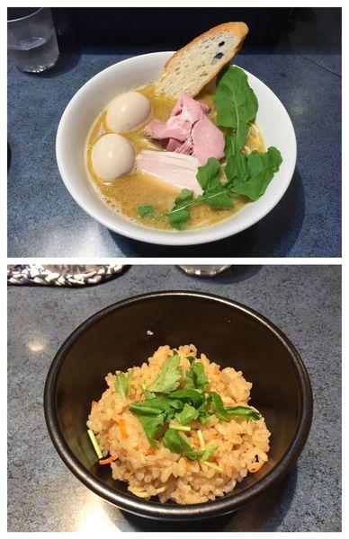 「特製白湯らーめん+炊き込みご飯」@もとのともの写真