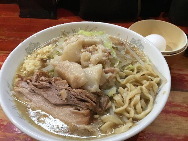「ミニラーメン+生タマゴ」@ラーメン二郎 会津若松駅前店の写真