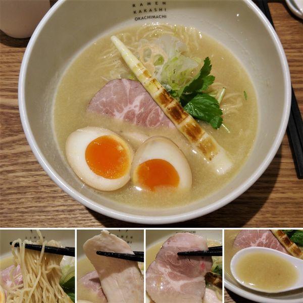 「鶏白湯塩(細麺)+味玉=900円」@案山子の写真