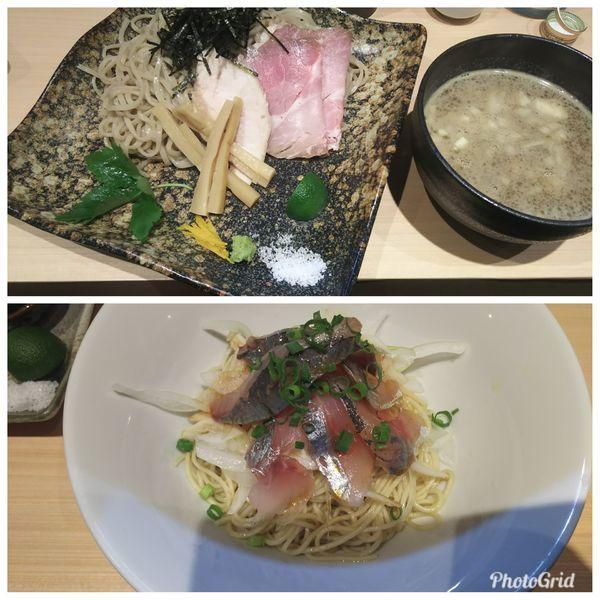 「濃厚ぶりつけそば+鯵そば」@寿製麺 よしかわ 西台駅前店の写真