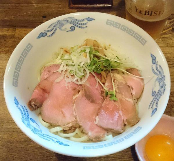 「油そば+肉増し+生玉子+生ビール」@燦燦斗の写真