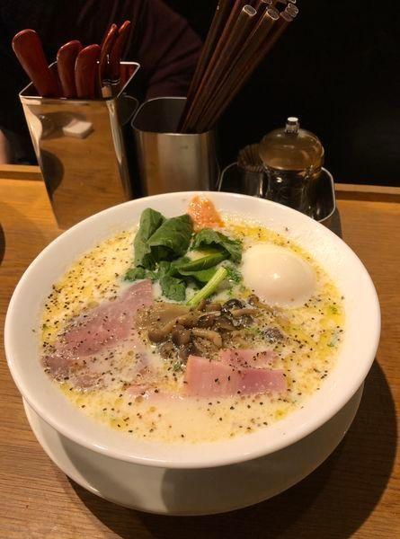 「[限定] 豆乳カルボナーラ麺 ¥980」@中華そば 二階堂の写真
