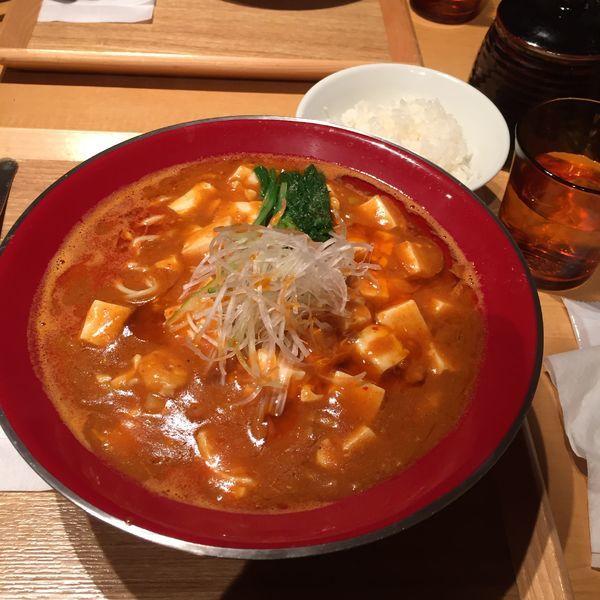 「海老辛麻婆麺(3辛)」@新潟三宝亭東京ラボ 渋谷宮益坂店の写真