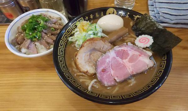 「味玉そば(並)+ローストチャーシューご飯」@中華蕎麦うゑずの写真