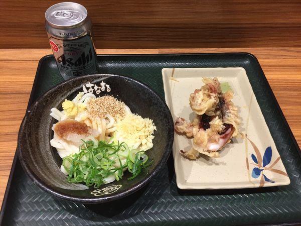 「おろし醤油冷小¥200+げそ天¥170+缶ビール¥290」@はなまるうどん 浦和西口店の写真
