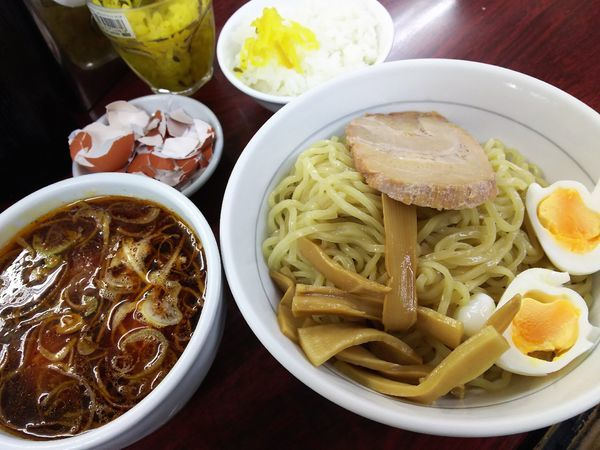 「つけ麺(サンラー、太麺)¥750ゆで玉子¥0×3+ライス¥0」@我流担々麺 竹子 本郷店の写真