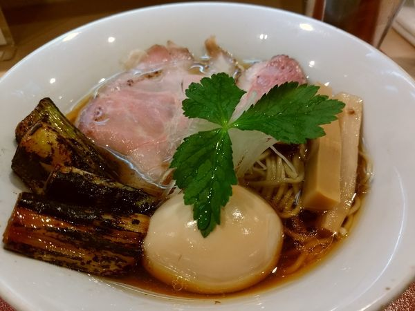 「味玉紀州鴨そば970円+二度漬けネギ焼き50円」@燃えよ麺助の写真