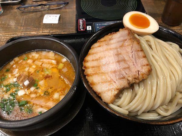 「辛塩つけ麺大盛り980円、炙りチャーシュー150円」@中華そば ことぶきやの写真
