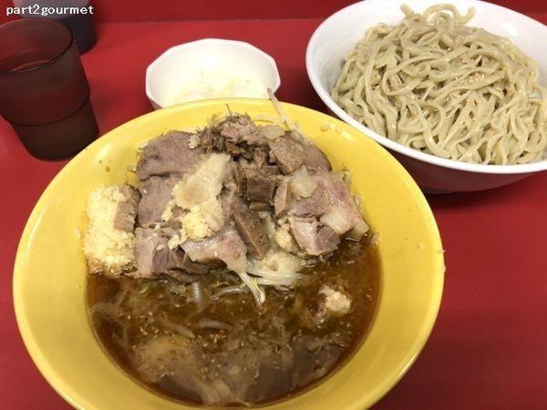 「つけ麺 タマネギ「ニンニクアブラ麺少なめ」(900円)」@ラーメン二郎 茨城守谷店の写真