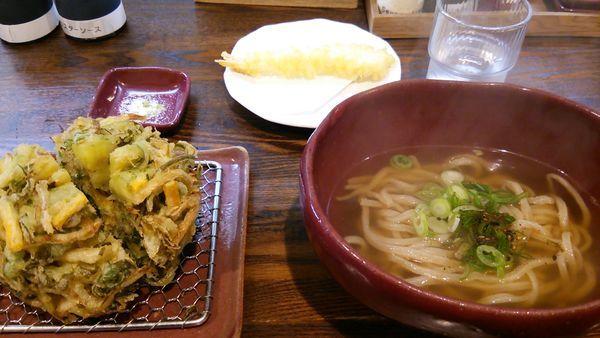 「九条ネギかき揚げの温かいうどん」@麺喰金家の写真