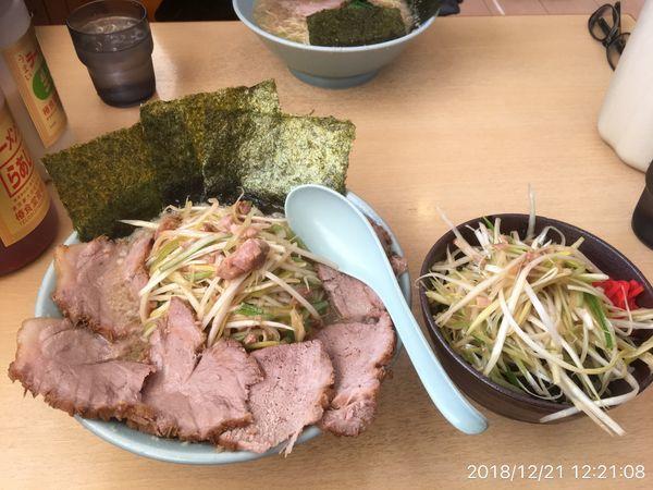 「こてネギチャーシュー麺+ネギ丼」@ラーメンショップ 椿 玉造店の写真