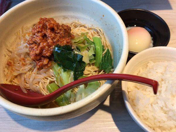 「汁なし担担麺 おんたま・小ライスセット」@めだかTANTANの写真