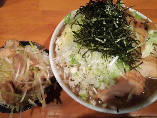 「【限定B】煮干しラーメン+ネギ飯」@ファットンの写真