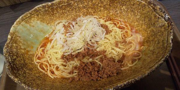 「汁なし担々麺+温玉」@中華そば くにまつの写真