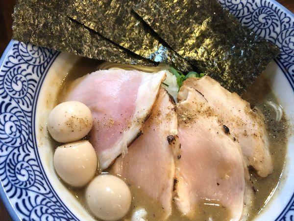 「特製煮干中華蕎麦、生和え玉」@煮干し中華蕎麦 山崎の写真