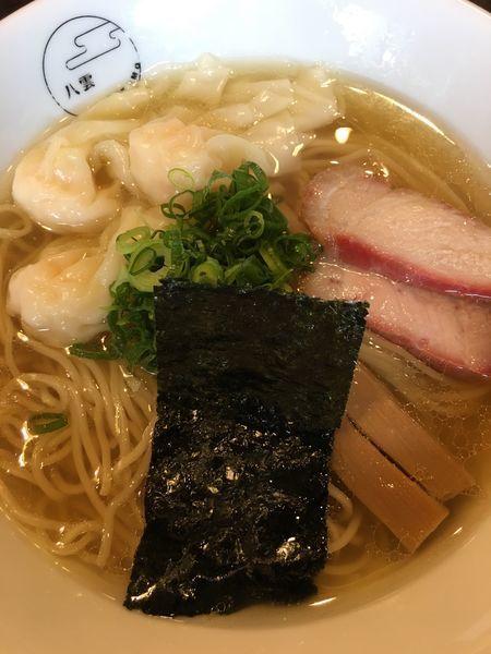 「エビワンタン麺ハーフ白醤油」@八雲の写真