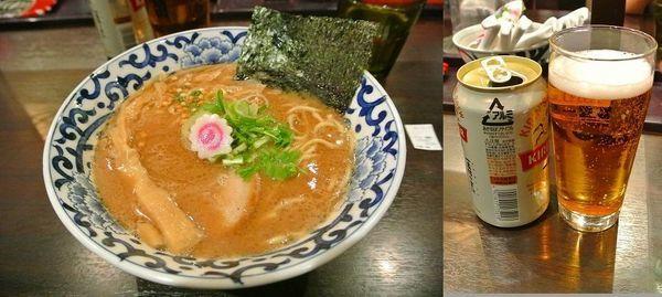 「魚介とんこつ味噌ラーメン840円 ビール280円」@東京駅 斑鳩の写真