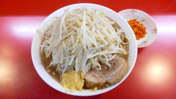 「ラーメン(普通)300g¥750/ニンニク、辛揚げ別皿¥0」@千里眼の写真