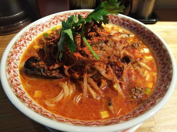 「【限定】スパイシー担々麺 ※大辛 (大盛り:サービス券)」@麺肴 ひづきの写真