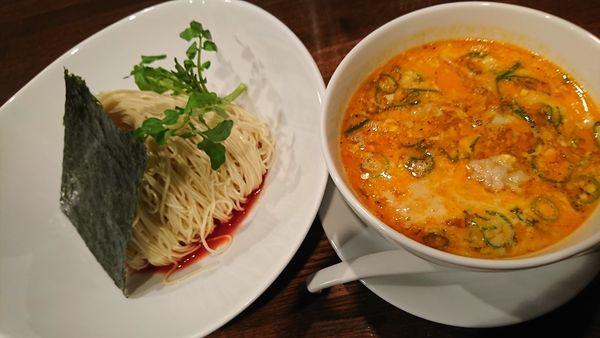 「坦々つけ麺+海老ワンタン(1130円)」@創作麺工房 鳴龍の写真