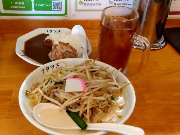 「濃厚タンメン(並盛・150g)788円+カレーセット194円」@極濃湯麺 フタツメ 安中店の写真