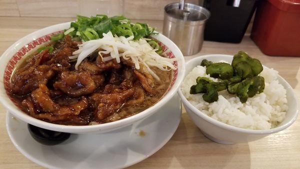 「肉汁麺レベル2 880円+並盛ご飯100円」@肉汁麺ススム 秋葉原本店の写真