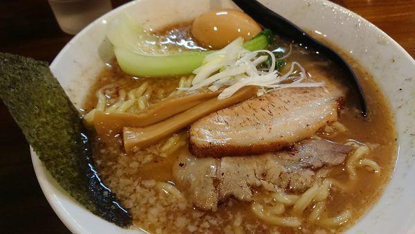 「魚だし醤油ラーメン(大盛、味玉)」@九州らあめん どん きさろく 八柱店の写真