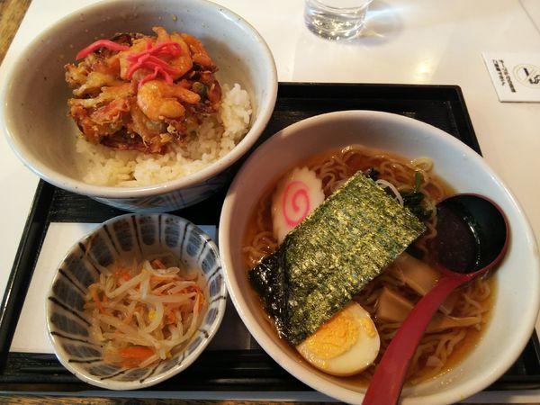 「かき揚げ丼 半ラーメンセット」@花のれんの写真