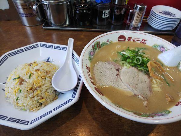 「チャーハン定食 1000円+スープ大 120円」@天下一品 元町店の写真